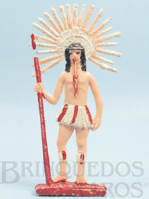 Brinquedo antigo Figura de Índio Brasileiro Cacique 12,00 cm de altura Década de 1960