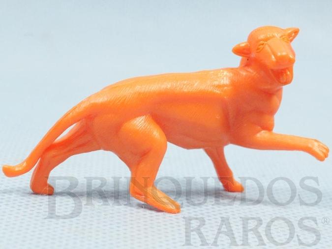 Brinquedo antigo Pantera de plástico laranja Série Zoológico década de 1970