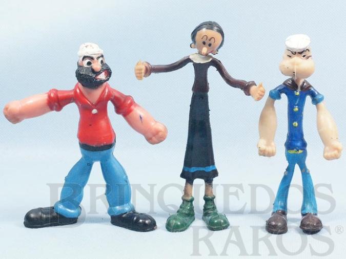 Brinquedo antigo Conjunto com Popeye Olivia Palito e Brutus 15,00 cm de altura Década de 1980