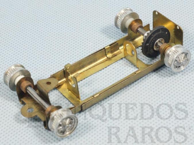 Brinquedo antigo Chassi Regulável de latão para carro Chaparral Completo com Cubos Eixos e Coroa Década de 1960