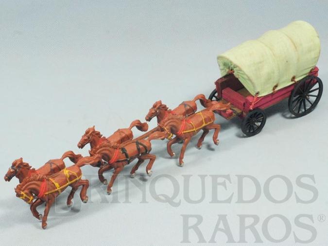 Brinquedo antigo Carroça Coberta com 6 cavalos e Toldo verde claro Gulliver primeira série Década de 1960