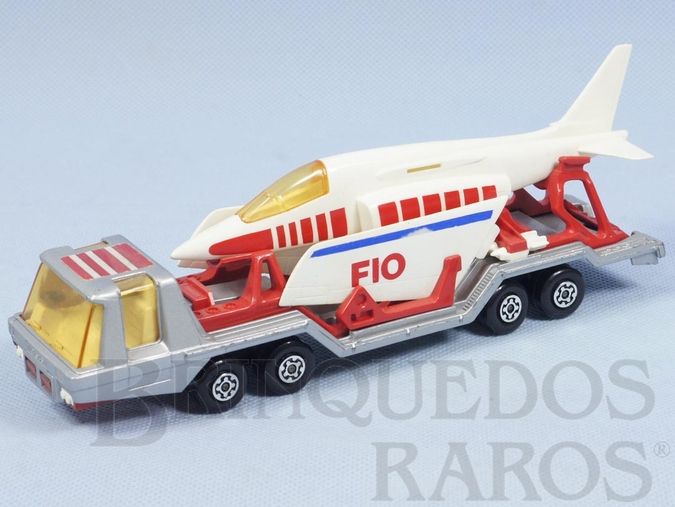 Brinquedo antigo Aircraft Transporter Super Kings prata completo com avião Década de 1970