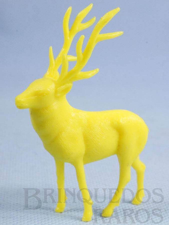 Brinquedo antigo Alce de plástico amarelo Série Zoológico Década de 1970