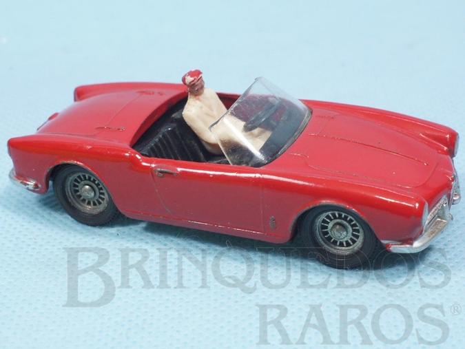 Brinquedo antigo Alfa Romeo Giulietta Spider vermelha com interior preto Fabricada pela Brosol Solido brésilienne Década de 1970