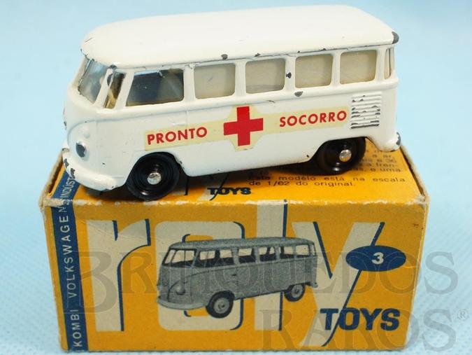 Brinquedo antigo Ambulância Volkswagen Kombi com 7,00 cm de comprimento Pronto Socorro Década de 1960