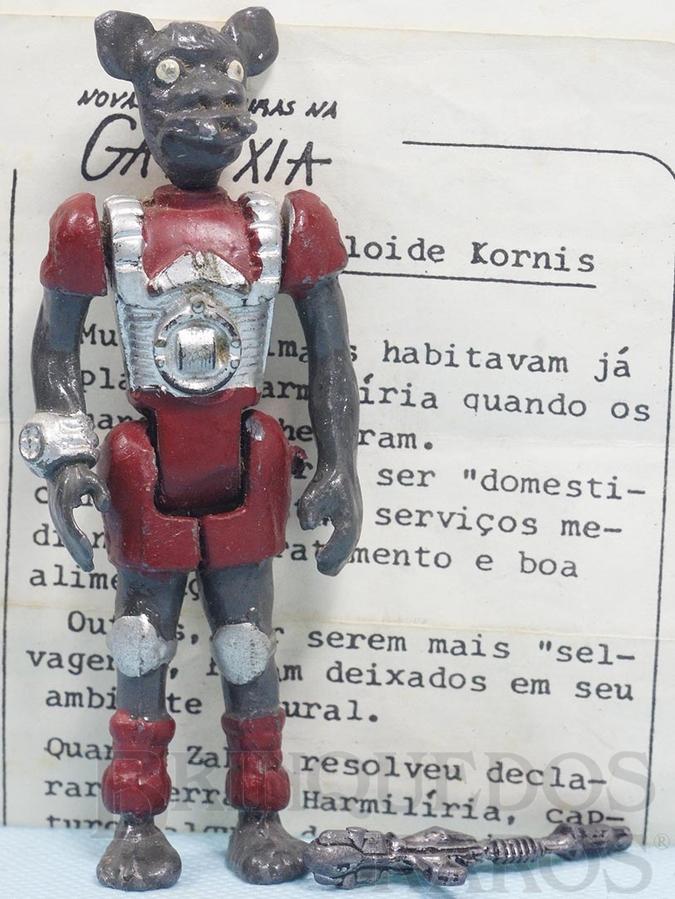 Brinquedo antigo Animalóide Kornis Série Novas Aventuras na Galáxia Guerra nas Estrelas Star Wars com Folheto de Apresentação e Arma Ano 1983