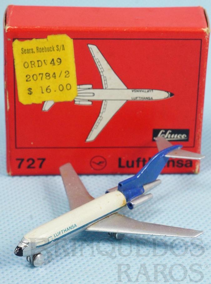 Brinquedo antigo Avião Boeing 727 Lufthansa numerado 784/2 com 6,00 cm de envergadura Década de 1960