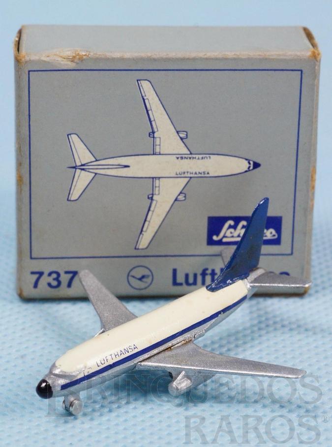 Brinquedo antigo Avião Boeing 737 Lufthansa numerado 784/1 com 5,00 cm de envergadura Década de 1960
