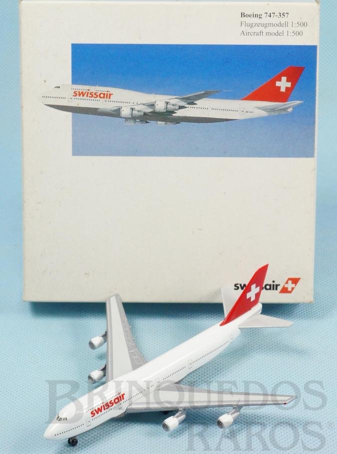 Brinquedo antigo Avião Boeing 747-357 Swissair Série Herpa Wings com 12,00 cm de envergadura Década de 2000