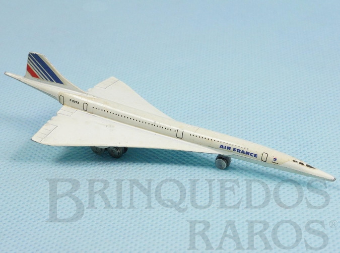 Brinquedo antigo Avião Aérospatiale Concorde Air France com 12,00 cm de comprimento Década de 1980