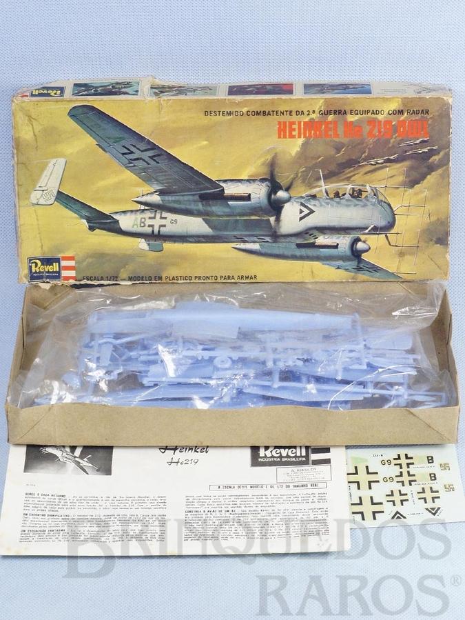 Brinquedo antigo Avião Heinkel He 219 OWL completo caixa mole Década de 1970