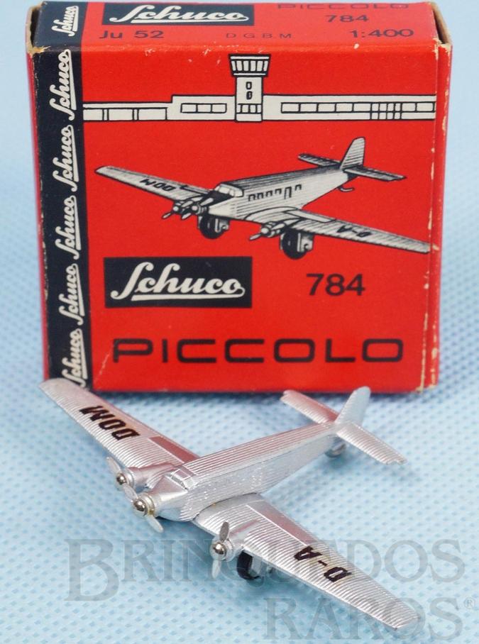 Brinquedo antigo Avião Junkers JU 52 Série Piccolo numerado 784 com 7,50 cm de envergadura Ano 1960