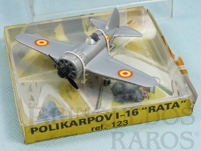 Brinquedo antigo Avião Polikarpov I-16 Rata com 11,00 cm de envergadura Força Aérea Espanhola Década de 1970