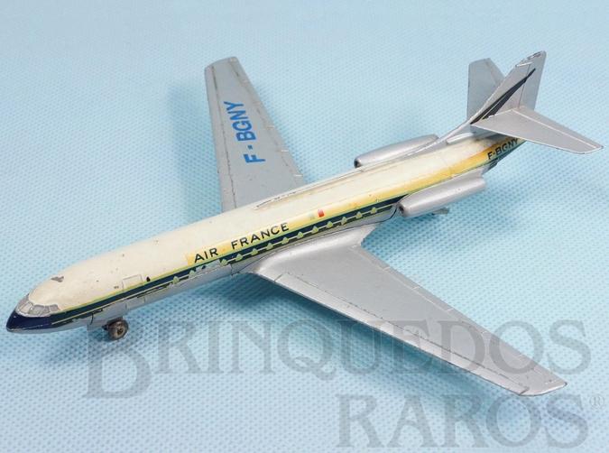 Brinquedo antigo Avião Sud Aviation Caravelle SE 210 Air France com 18,00 cm de envergadura Ano 1959