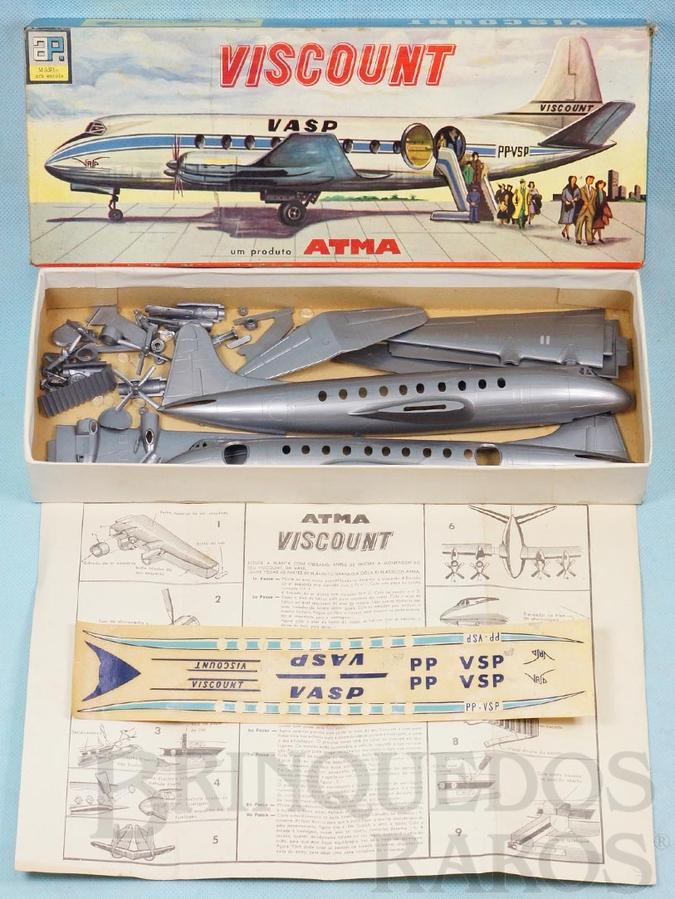 Brinquedo antigo Avião Vickers Viscount da VASP com 30,00 cm de envergadura Década de 1960