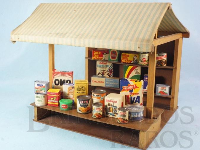 Brinquedo antigo Barraca de Feira Feirinha Estrela com 24 miniaturas de mantimentos Altura 25,00 cm Ano 1969
