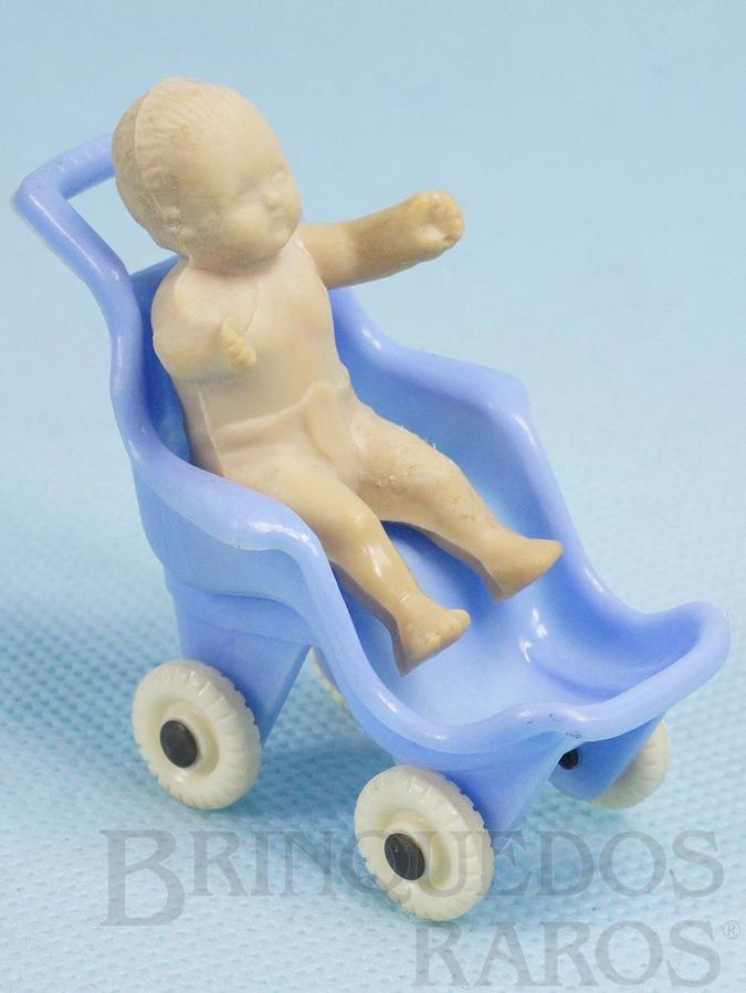 Brinquedo antigo Bebê com Carrinho 6,00 cm de altura Década de 1950