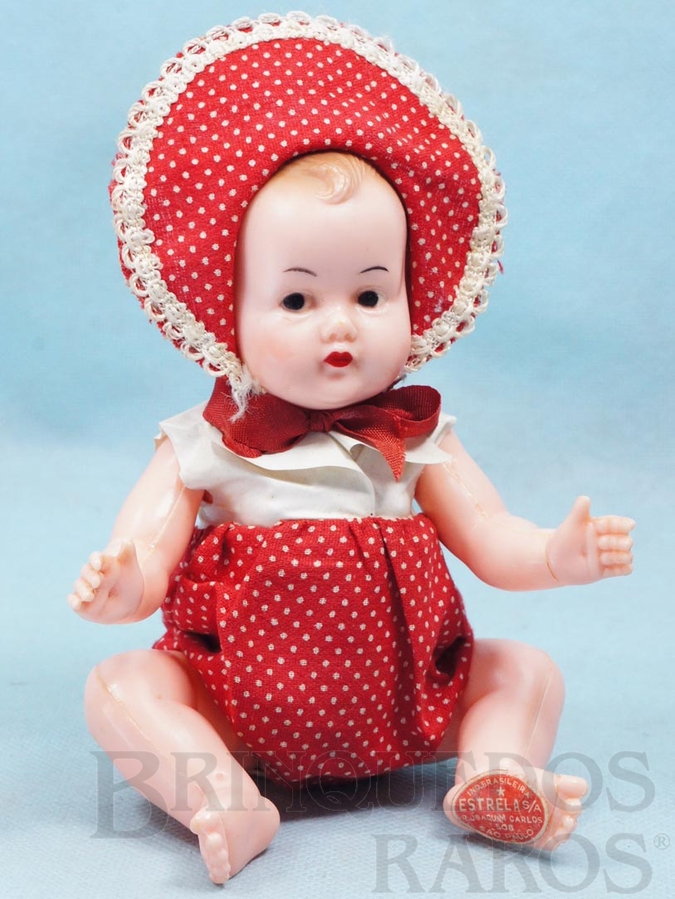 Brinquedo antigo Bebê Plastrela com 20,00 cm de altura Articulado 100% original Macacão de algodão e blusa de tecido plástico Olhos e cabelos pintados Ano 1956