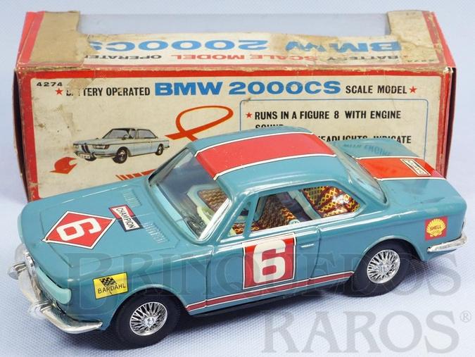 Brinquedo antigo BMW 2000 CS Executa um traçado em oito com Pisca Pisca operacional 22,00 cm de comprimento Década de 1970