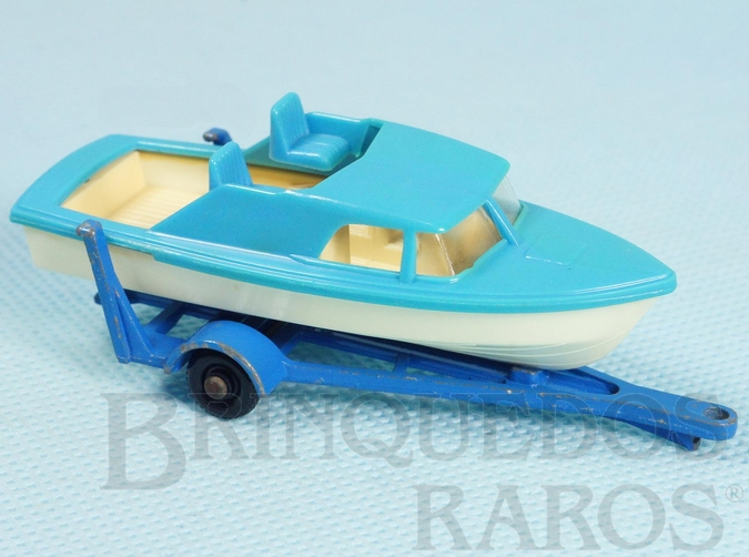Brinquedo antigo Boat and Trailer Black Plastic Regular Wheels