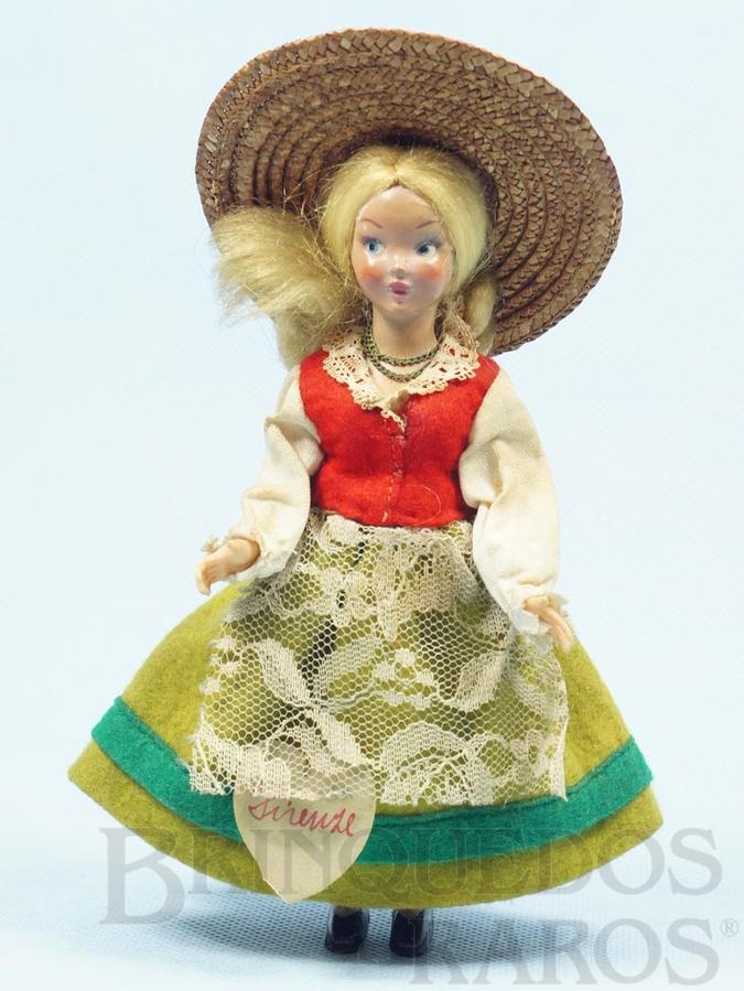 Brinquedo antigo Boneca com traje típico de Firenze com 18,00 cm de altura Rosto de massa e Roupa de Feltro Década de 1950
