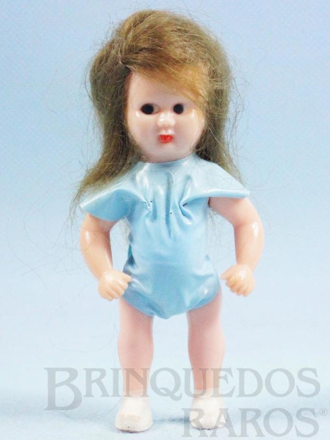 Brinquedo antigo Boneca Estrelinha com 8,00 cm de altura Roupa azul de tecido plástico Olhos pintados Cabelo Natural Ano 1957