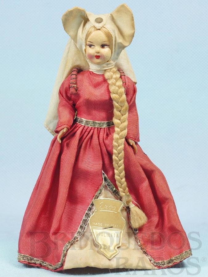 Brinquedo antigo Boneca Giulietta com 18,00 cm de altura rosto de massa e corpo de plástico Olhos pintados Década de 1960