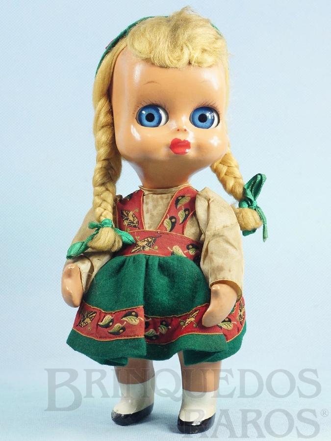 Brinquedo antigo Boneca Googly Eye Dedo Doll com 24,00 cm de altura Cabeça e corpo de plástico rígido Olhos de acompanhar Cabelo natural Década de 1950