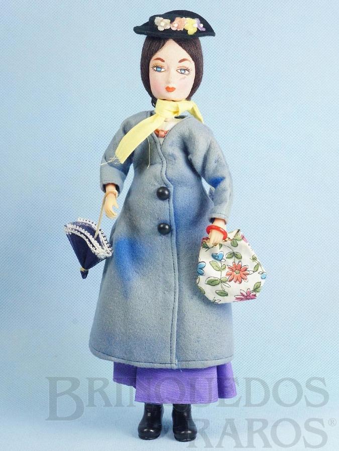 Brinquedo antigo Boneca Mary Poppins tipo Pose Doll com 30,00 cm de altura Rosto de Tecido Walt Disney Copyright Década de 1960