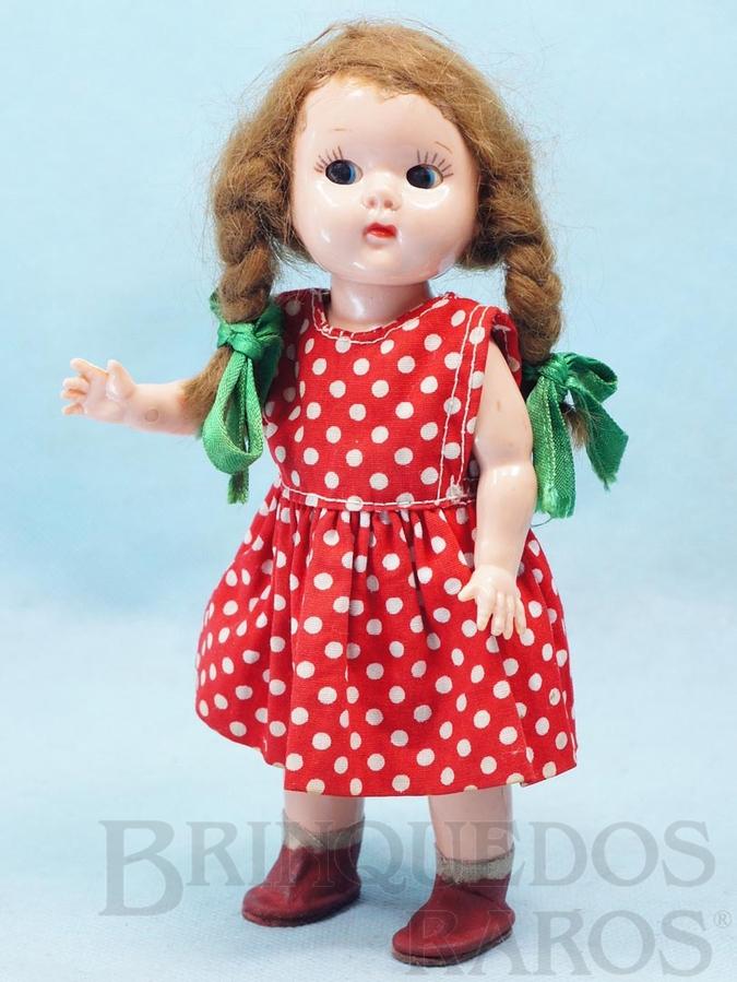 Brinquedo antigo Boneca Plastrela com 19,00 cm de altura Articulada 100% original Vestido de algodão Olhos de dormir Cabelo natural Ano 1956