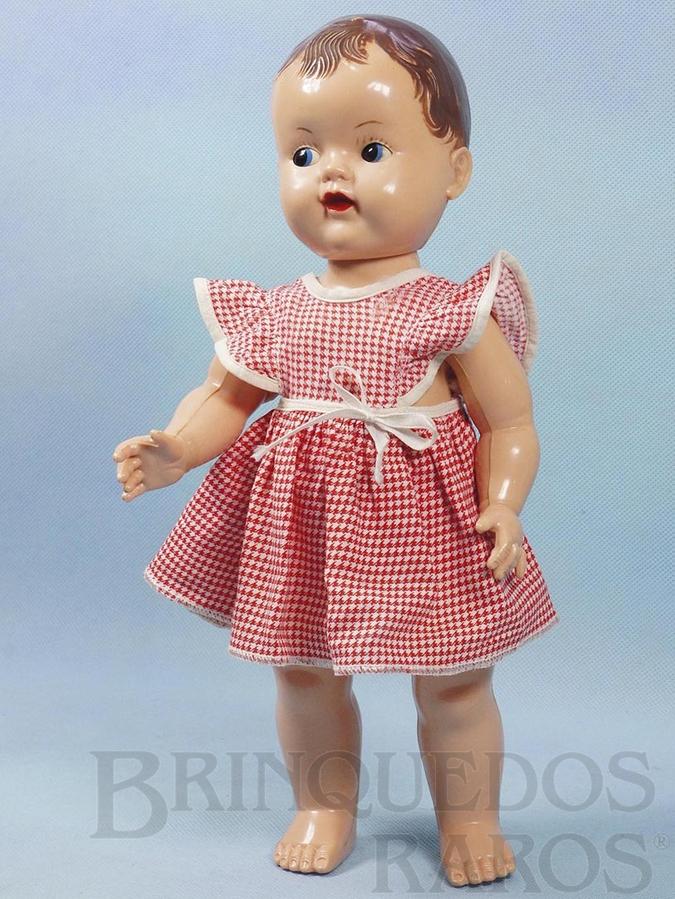 Brinquedo antigo Boneca Pupi com 33,00 cm de altura Toda articulada Olhos de dormir Cabelo pintado Vestido de Algodão Completa e 100% original Ano 1954