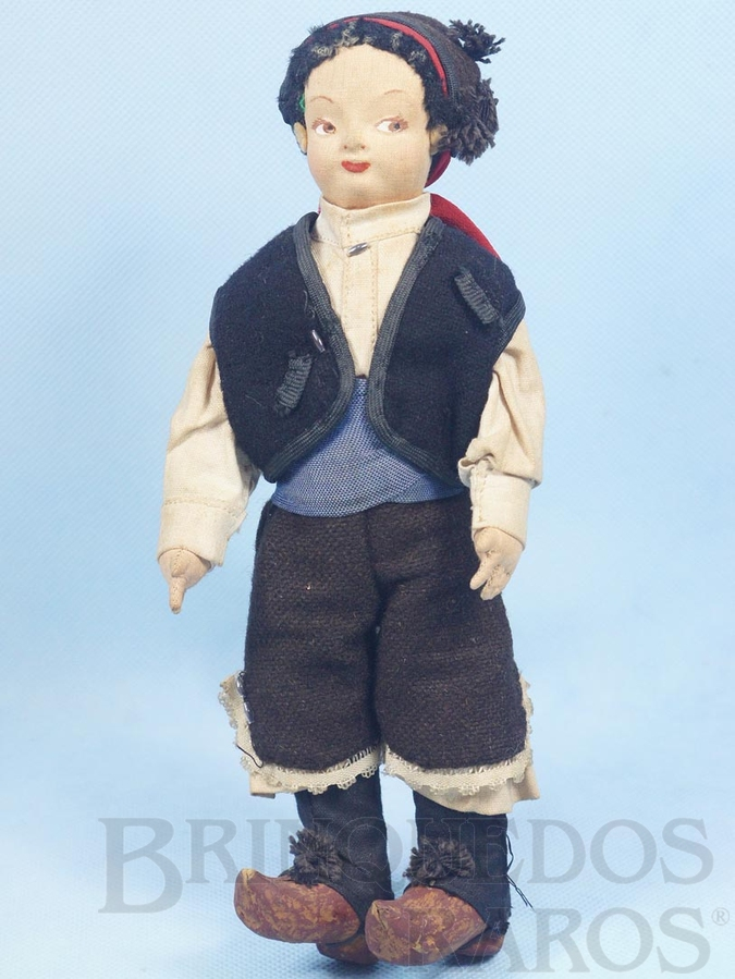 Brinquedo antigo Boneco com 24,00 cm de altura Rosto de tecido Traje típico Espanhol Década de 1950