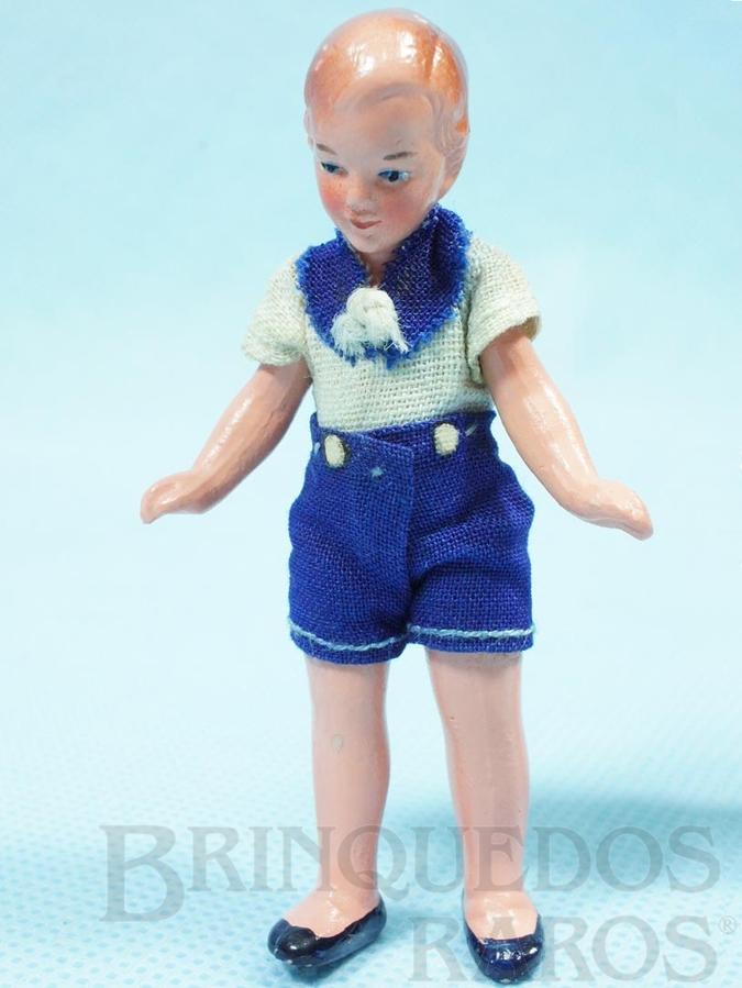 Brinquedo antigo Boneco com 8,00 cm de altura Roupa de tecido Década de 1930