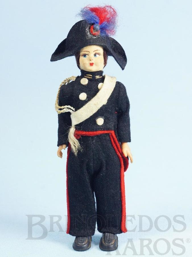 Brinquedo antigo Boneco com uniforme de Carabiniere 17,00 cm de altura Rosto de tecido e Roupa de Feltro Década de 1950