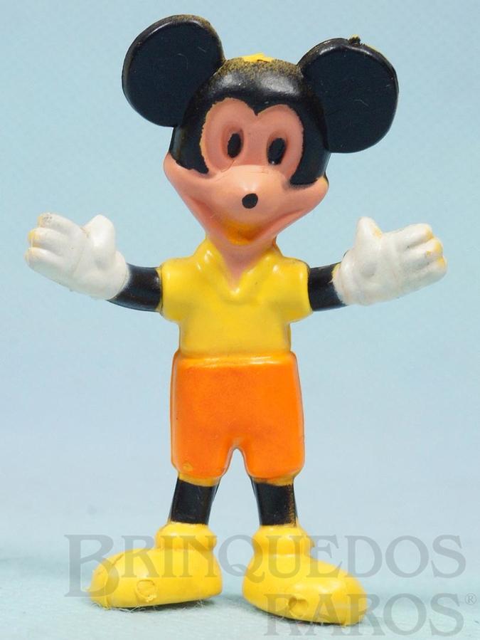 Brinquedo antigo Boneco do Mickey com 6,00 cm de altura Coleção Mini Flex Walt Disney Ano 1970