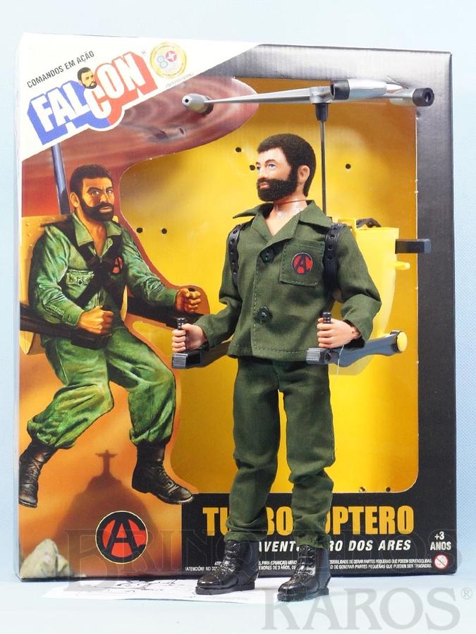 Brinquedo antigo Boneco Falcon moreno com barba Aventura Turbocóptero Aventura dos Ares caixa lacrada Completo com 4 Itens Edição Comemorativa dos 80 anos da Estrela e 40 anos do Falcon Comandos em Ação Ano 2017