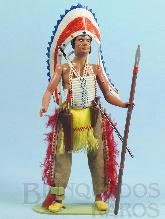 Brinquedo antigo Boneco Índio Jerônimo Série Super Amigos com 27,00 cm de altura Roupas de tecido Perfeito estado Completo com 17 itens Ano 1977