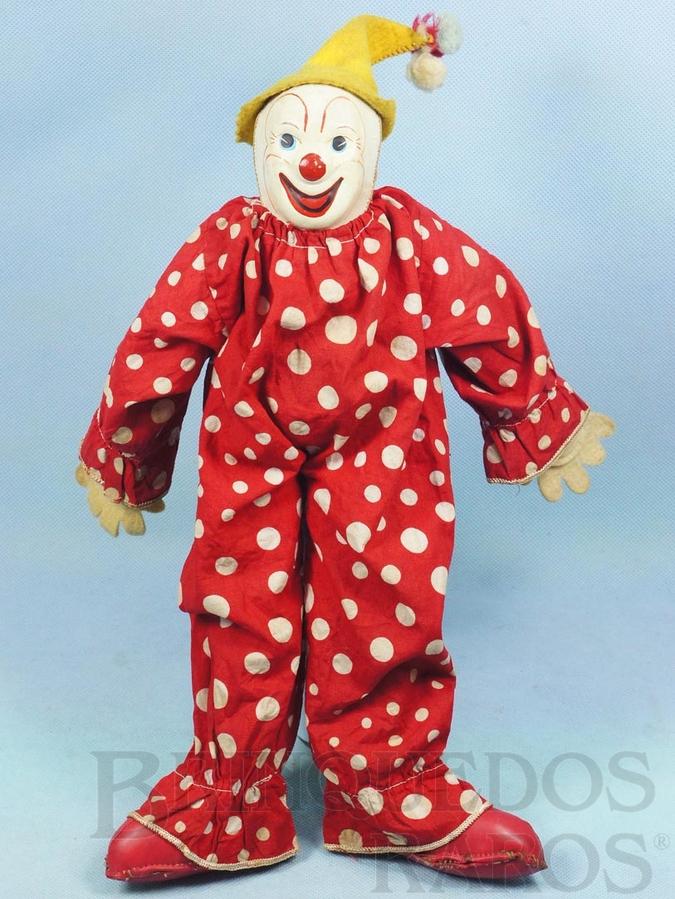 Brinquedo antigo Boneco Palhaço Bimbo com 37,00 cm de altura Rosto de plástico Corpo de tecido todo articulado Mãos de feltro Sapatos de tecido plástico Ano 1957