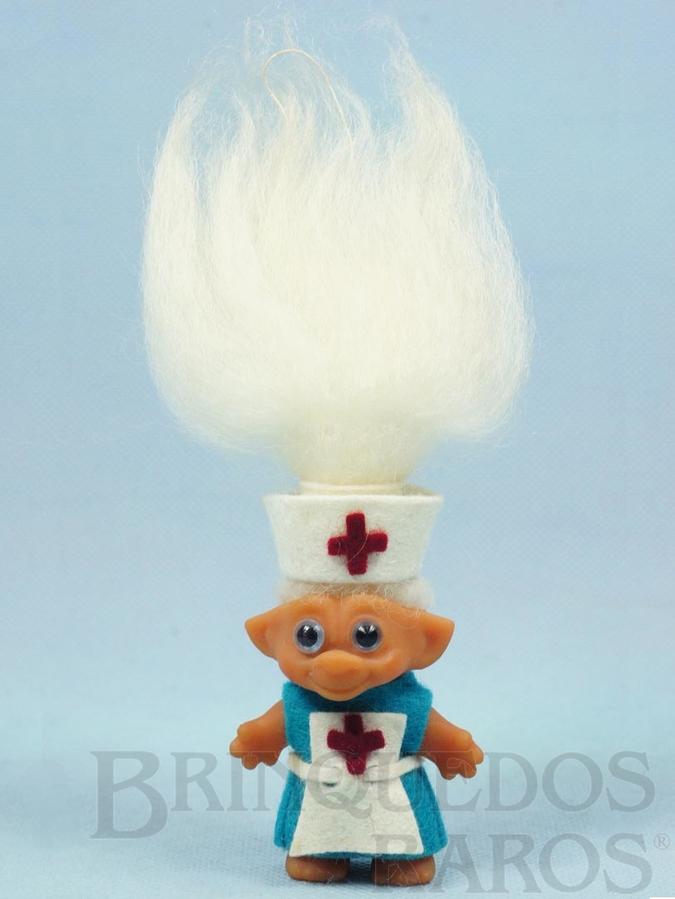 Brinquedo antigo Boneco da Sorte Ugly com 18,00 cm de altura Troll Magic Duende Roupa de Enfermeira de Feltro Patente 10563 Década de 1970