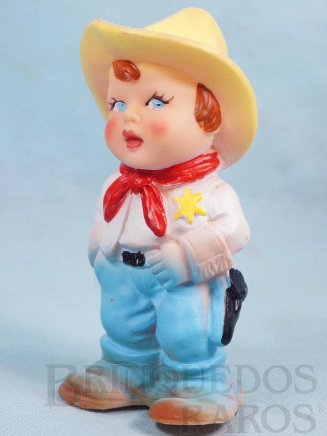 Brinquedo antigo Boneco Xerife 14,00 cm de altura com apito Década de 1960