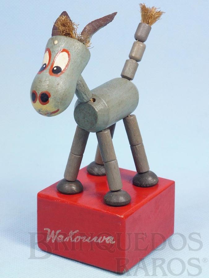 Brinquedo antigo Burrinho Mula Manca com 15,00 cm de altura Fabricado na Suíça, importado e distribuído pela Estrela Ano 1947