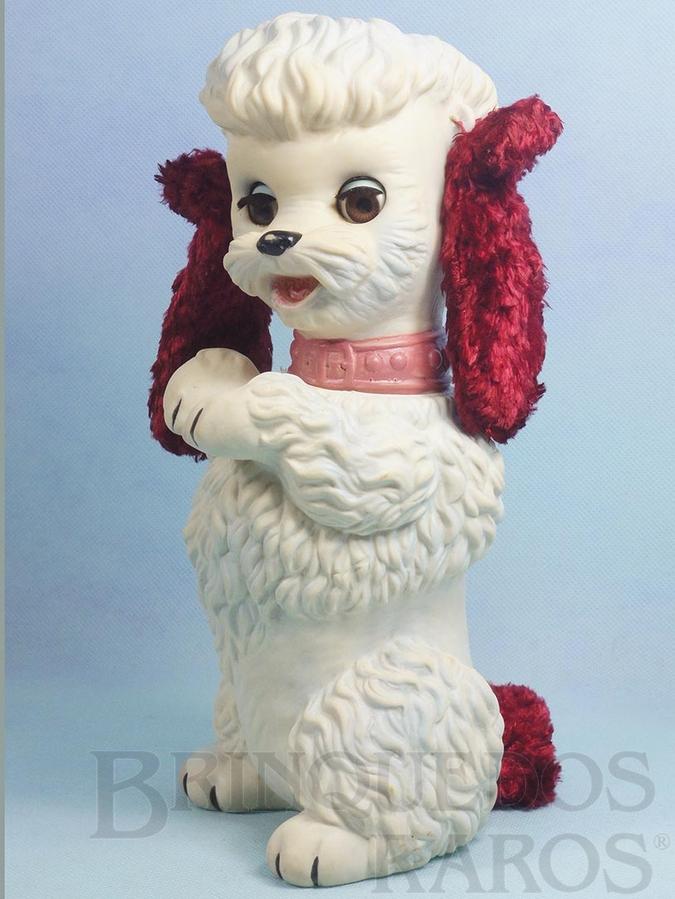 Brinquedo antigo Cachorro Almofadinha com 28,00 cm de altura Olhos de dormir Orelhas de Pelúcia e apito Ano 1963