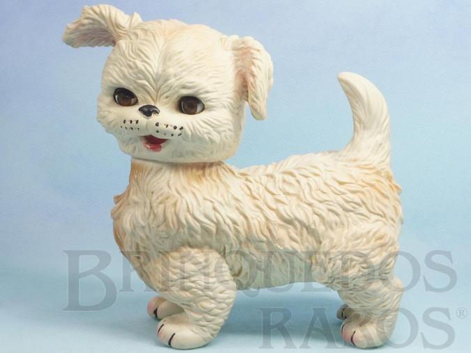 Brinquedo antigo Cachorro Lulu com 22,00 cm de altura Olhos de dormir e apito Ano 1963
