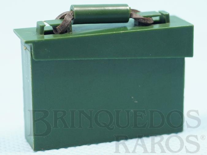 Brinquedo antigo Caixa de Munição verde Aventuras Trincheira Heróica e Mochila de Campanha Ano 1977