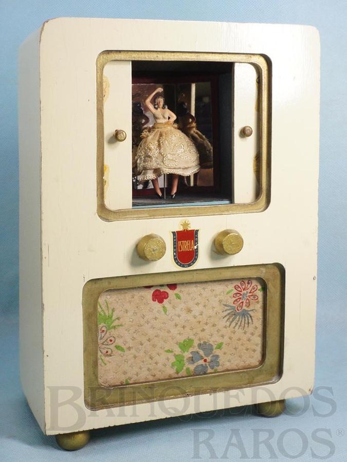 Brinquedo antigo Caixa de música Radiotelevisão com Bailarina que dança ao se abrir as portas centrais Melodia La Cucaracha 26,00 cm de altura Coleção Carlos Augusto Ano 1954
