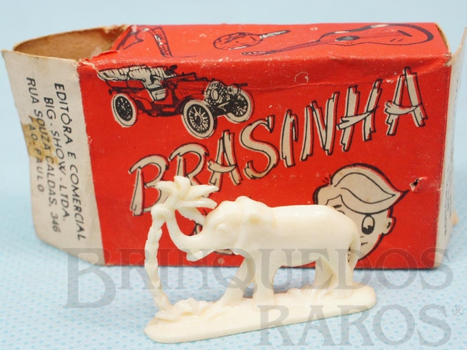 Brinquedo antigo Caixa Surpresa Brasinha com Elefante de 2,00 cm de altura Década de 1970