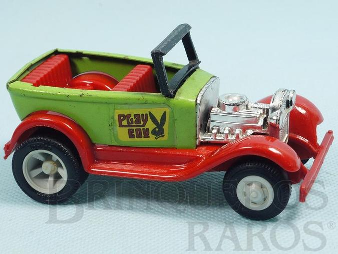 Brinquedo antigo Calhambeque Hot Rod Play Boy com 11,00 cm de comprimento Carroceria de aço Paralamas de plástico Década de 1970