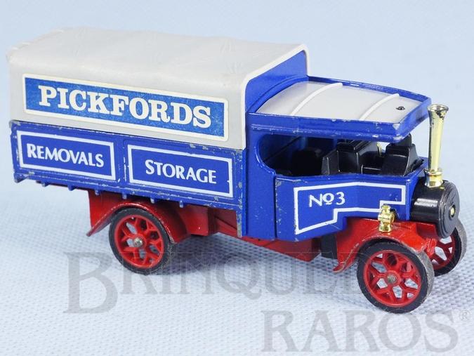 Brinquedo antigo Caminhão a vapor 1922 Foden Steam Wagon Yesteryear Pickfords Removals Década de 1980