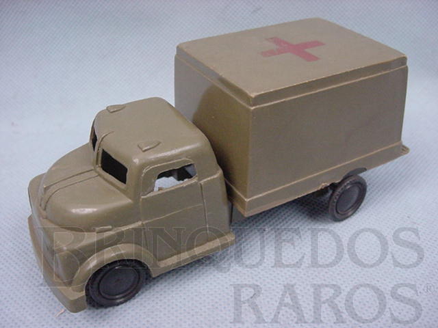 Brinquedo antigo Caminhão Militar Ambulância do Exército com 13,00 cm de comprimento Década de 1960
