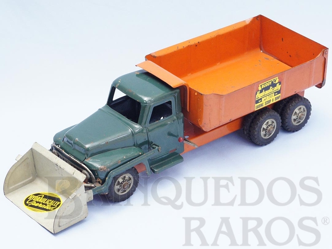 Brinquedo antigo Caminhão basculante com pá Scoop N Dump Truck 60,00 cm de comprimento Década de 1950